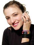 Menina com móbil Imagens de Stock