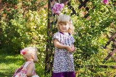 A menina com maçã em um jardim foto de stock royalty free