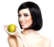 Menina com maçã verde Fotografia de Stock Royalty Free