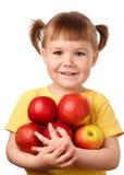 Menina com maçãs Fotos de Stock