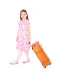 Menina com mala de viagem Fotos de Stock Royalty Free