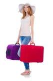 Menina com malas de viagem Fotos de Stock Royalty Free