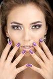 A menina com manicure fotografia de stock royalty free