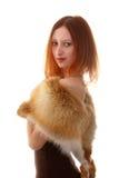Menina com mantelet da pele Fotografia de Stock Royalty Free