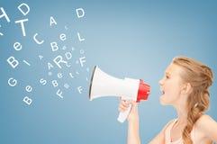 Menina com megafone Imagens de Stock