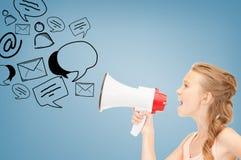 Menina com megafone Fotos de Stock
