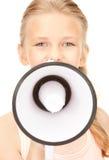 Menina com megafone Fotos de Stock Royalty Free