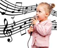 Menina com microfone imagens de stock