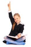 Menina com a mão levantada? Eu sei a resposta Fotografia de Stock Royalty Free