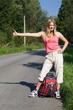 Menina com mochila Fotos de Stock