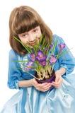 Menina com mola do açafrão Imagem de Stock