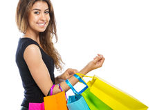 Menina com muitos sacos de compras Foto de Stock Royalty Free
