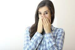 A menina com não fala a expressão facial foto de stock royalty free