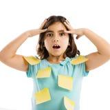 Menina com notas amarelas Fotos de Stock