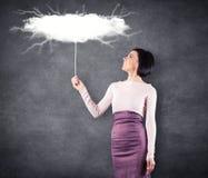 Menina com nuvem Imagens de Stock
