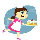A menina com o bolo Fotos de Stock Royalty Free