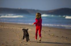 Menina com o cão na praia Imagem de Stock Royalty Free