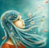 A menina com o cabelo azul que olha acima ilustração stock