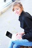 A menina com o caderno Imagem de Stock Royalty Free