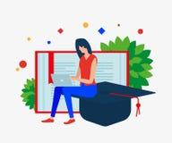 A menina com o caderno, o livro aberto e o tampão do ` s do graduado ilustração stock