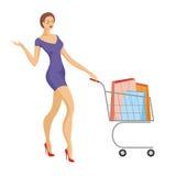 Menina com o carrinho de compras Fotos de Stock Royalty Free