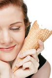 Menina com o gelado, isolado Foto de Stock