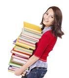 Menina com o livro da cor da pilha. Imagens de Stock Royalty Free