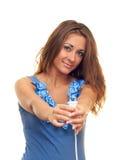 Menina com o plugue Imagem de Stock Royalty Free