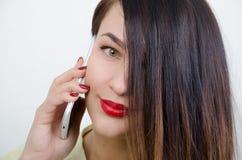 Menina com o telefone Imagem de Stock Royalty Free