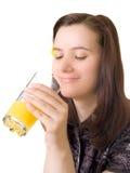 Menina com o vidro do suco, isolado fotografia de stock
