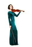 Menina com o violino no branco Imagem de Stock