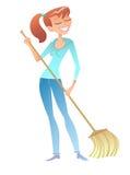 Menina com o voluntário da dona de casa do líquido de limpeza da vassoura Imagem de Stock