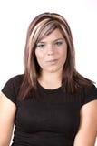 Menina com olhar confuso na face. fotografia de stock