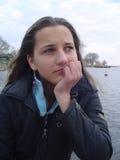 Menina com olhar preocupado Fotos de Stock