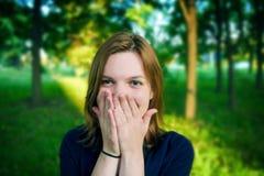 Menina com olhos azuis grandes Fotografia de Stock