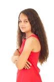 Menina com os braços dobrados semi no perfil Fotos de Stock Royalty Free