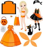 Menina com os vestidos para o partido de Halloween Fotos de Stock Royalty Free