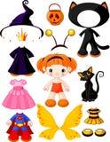 Menina com os vestidos para o partido de Halloween Imagem de Stock Royalty Free