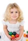 Menina com ovos de easter fotografia de stock royalty free