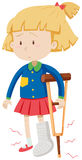 Menina com pé quebrado Foto de Stock Royalty Free