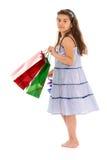 Menina com pacotes imagens de stock