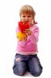 Menina com paprika Fotografia de Stock