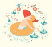 Menina com pato, flutuação do boia salva-vidas e os barcos de papel na água com pássaros Imagens de Stock Royalty Free