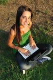 Menina com PC 3 Fotografia de Stock Royalty Free