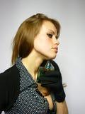 Menina com perfume nas mãos Imagem de Stock Royalty Free