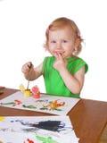 Menina com pintura Imagens de Stock Royalty Free