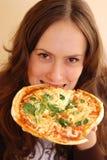 Menina com pizza Foto de Stock Royalty Free
