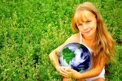Menina com planeta imagens de stock