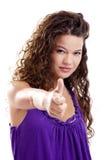 Menina com polegares acima imagens de stock royalty free
