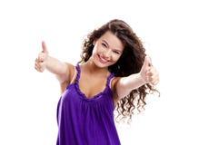 Menina com polegares acima imagem de stock royalty free